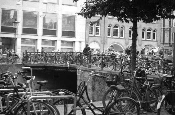 cyklar fönster svart vitt